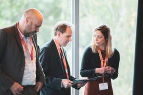 Duncan Roberts (Delano) à gauche, Vincent-Emmanuel Mathon (VEM Consulting) au milieu et Geraldine Valentijn (ECP) à droite ((Photo: Jan Hanrion / Maison Moderne))