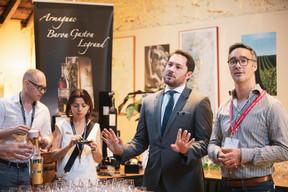 Yannick Lang et Tatiana Lang (Banana Republic), Robert Gaylord (Cognac Lhéraud) et Julien Delpy (Maison Moderne) ((Photo: Patricia Pitsch / Maison Moderne))