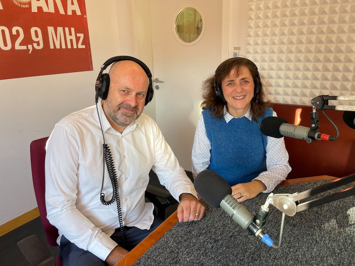 Delano's Duncan Roberts and Ara City Radio's Lisa McLean in the studios at Rotondes Maison Moderne