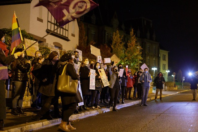 Around 200 people picketed the Polish embassy in Luxembourg on 3 November 2020, in protest against restrictions on abortion rights Matic Zorman
