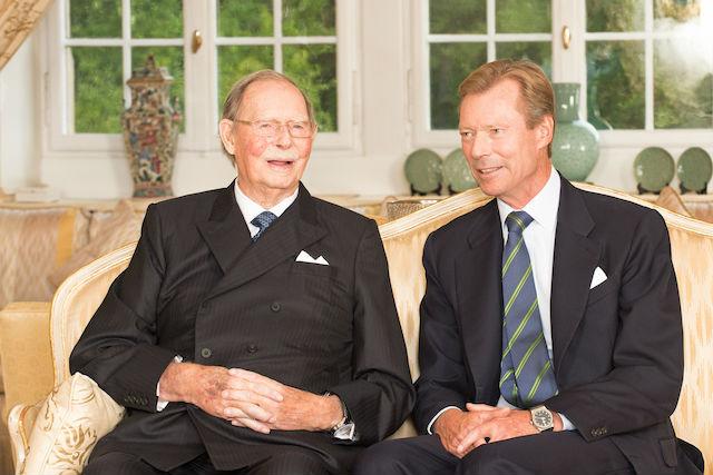 Royal court photo shows Grand Duke Jean, left, seated with son Grand Duke Henri Cour grand-ducale/Lola Velasco