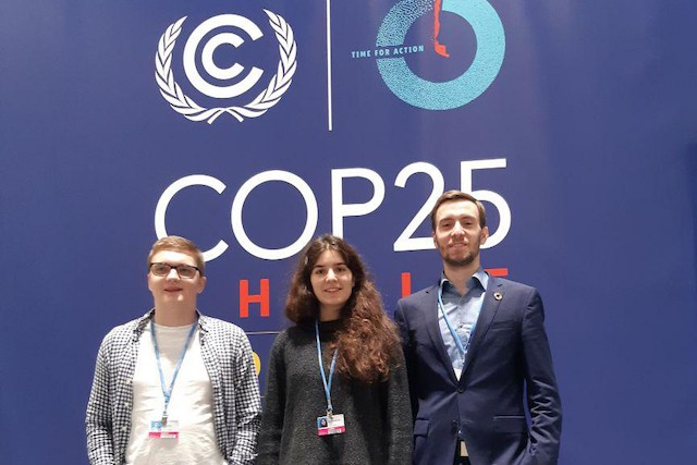 Evercity CEO and co-founder Alexey Shadrin, pictured on the right during theUN Climate Change Conference COP25, also heads thefinance working group at the UN-backed Climate Chain Coalition Evercity