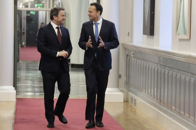 Xavier Bettel and Leo Vadakar, the prime ministers of Luxembourg and Ireland, respectively, during Bettel's official visit to Dublin, 5 March 2018. ME