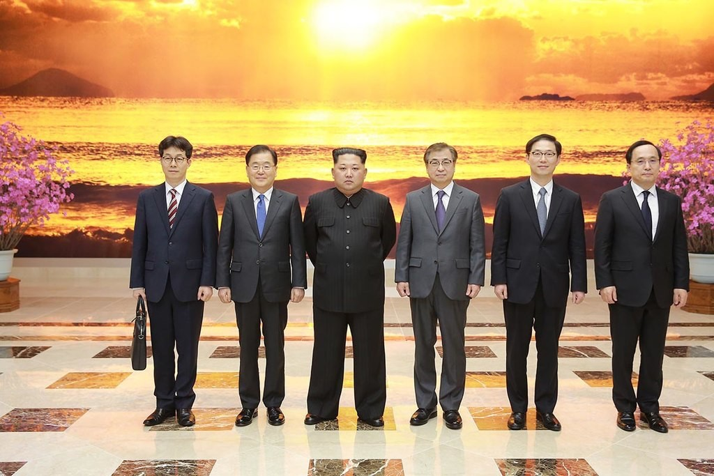 Kim Jong-un meeting with South Korean envoys in March this year Blue House (Republic of Korea)