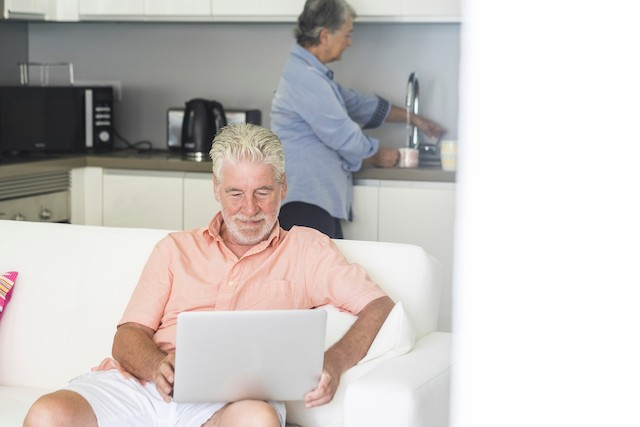 A couple is pictured at home in this illustration photo. Older people were found to have had less contacts during lockdown than younger people Shutterstock