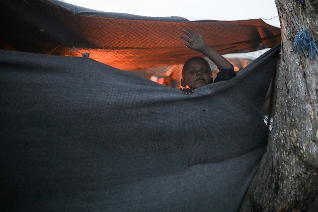 A child is pictured at the Moria refugee camp on Lesvos island, Greece Shutterstock