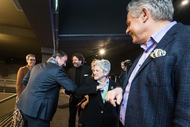 Prime minister Xavier Bettel and Colette Flesch practice an elbow bump as part of coronavirus prevention... Nader Ghavami