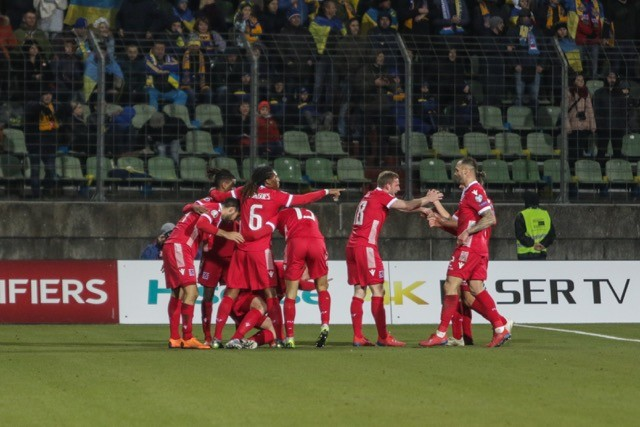 Luxembourg's Red Lions, seen celebrating a goal against Ukraine in March 2019, have posted some impressive results recently and have a number of marquee players plying their trade abroad. photo-oxser / Shutterstock
