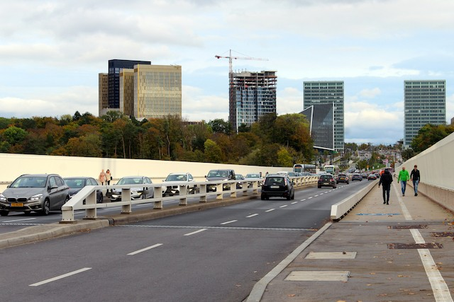 Commuters crossing the Grand Duchess Charlotte Bridge connecting the Kirchberg plateau and the city centre Shutterstock