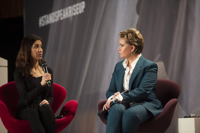2018 Nobel Prize winner Nadia Murad was one of the survivors to take centre stage in a plenary led by Grand Duchess Maria Teresa on 26 March 2019 Anthony Dehez