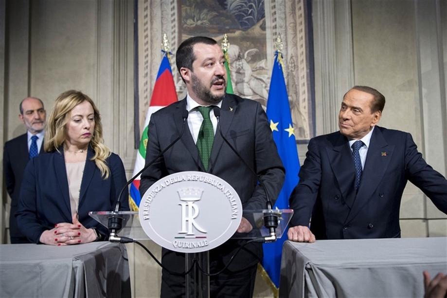 Matteo Salvini (centre) has soured his relationship with Luigi Di Maio over the latter's insistence that he abandon coalition partner Silvio Berlusconi (right) Presidenza della Repubblica