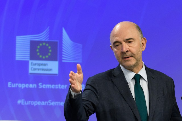 Pierre Moscovici, the EU's finance commissioner, speaks at a press conference in Brussels, 7 March 2018 European Commission/Georges Boulougouris