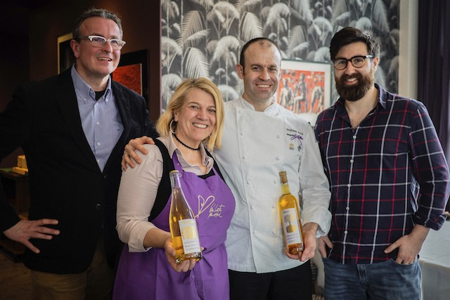 Luxembourg and Germany join forces to celebrate cider at the preview Cider Gourmet lunch on 31 January. L to R: Michael Stöckl (Cider World), Luxembourg chef Léa Linster, Andreas Krolik (Restaurant Lafleur), Adie Kaye (Ramborn) Ramborn