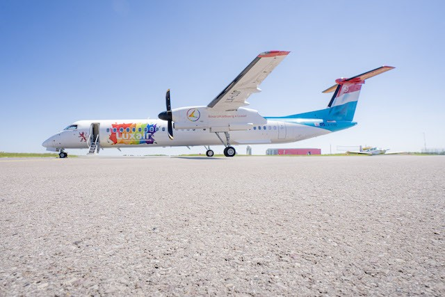 """The """"Be Pride, Be Luxembourg"""" Q400-LX-LQC aircraft was revealed on Tuesday Luxair"""