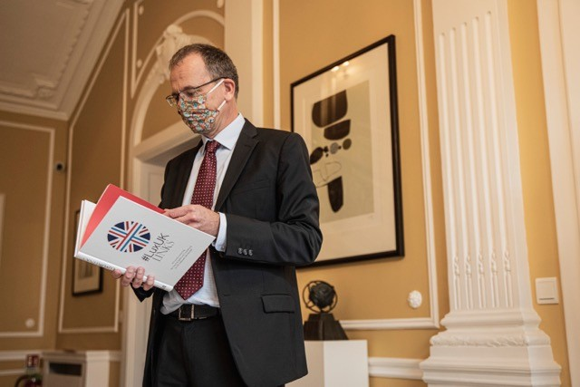 """British ambassador John Marshall at the launch of the """"#LuxUKLinks"""" book at the embassy residence on Thursday Jan Hanrion"""