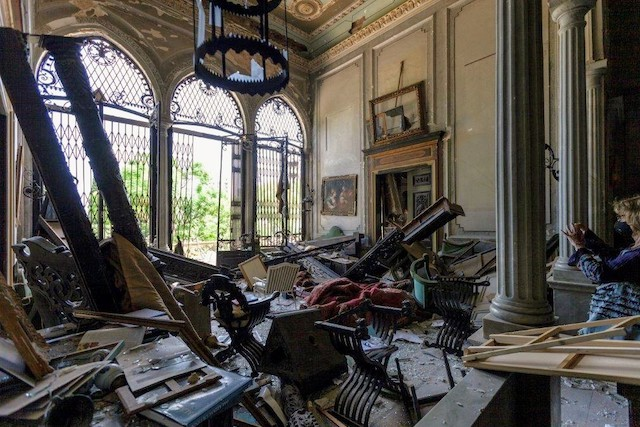 Sursock Palace as seen shortly after the Beirut explosion rocked the Lebanese capital in August 2020 RestArt Beirut/Sursock Palace