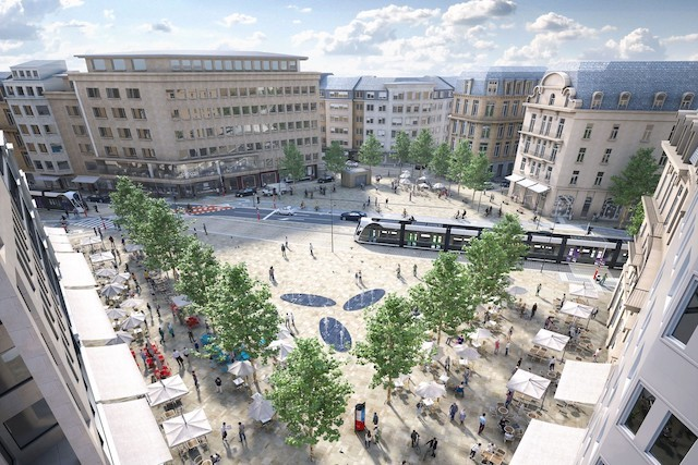 Artists' impression shows Place de Paris, in Luxembourg City, after the redevelopment Luxtram