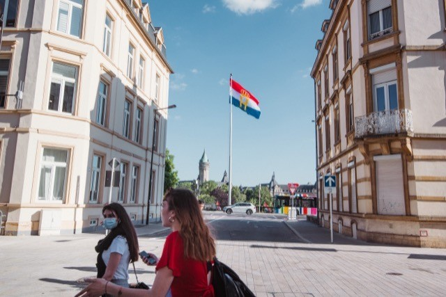 The Luxembourg flag flies in the background of this photo taken on 22 June Nader Ghavami/Maison Moderne