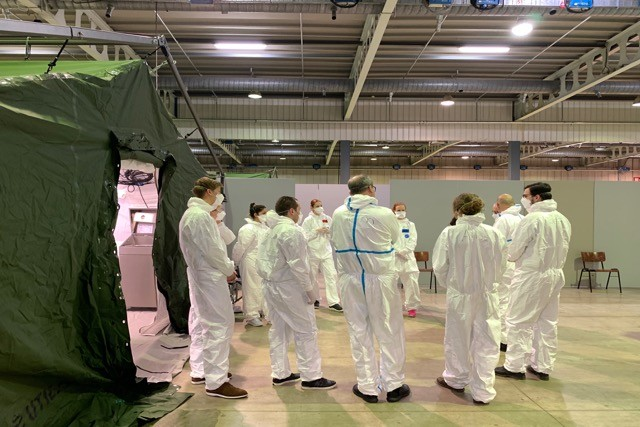 Staff at the advance medical centre in Luxexpo on Wednesday 25 March. Patients with covid-19 symptoms who teleconsult with a doctor may be sent to one of the advance medical centres for further diagnosis. Luxembourg Government