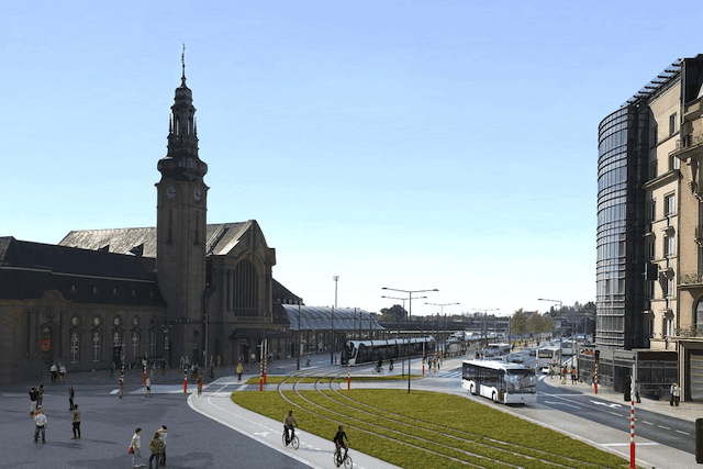 The Gare district will see the columns of buses disappear in favour of the tram, the new backbone of mobility in the capital Visual: Luxtram