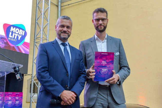 Aidan McClean and Renaud Marquet of UFODRIVE accept Startup of the Year Award  Dominique Gaul