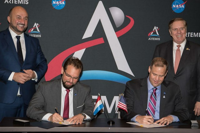 From left: Luxembourg economy minister Etienne Schneider, LSA CEO Marc Serres,Nasa Administrator James. F. Bridenstine, and US ambassador to Luxembourg Randy Evans LSA