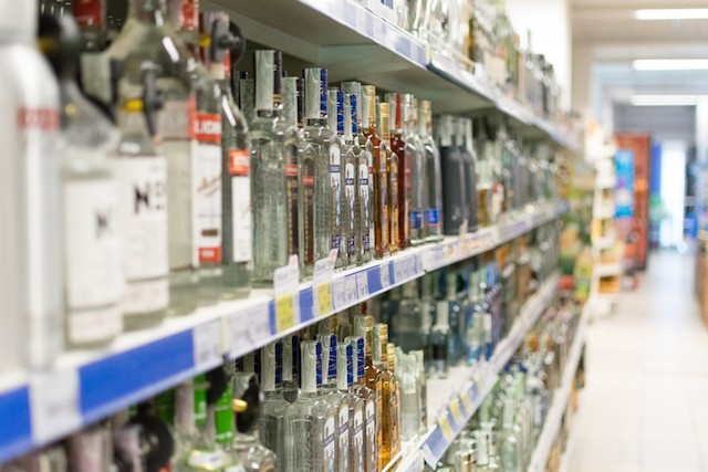 Photo shows bottles of alcohol in a Kiev supermarket Shutterstock