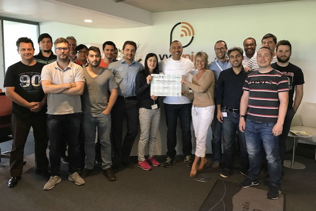 The vyzVoice team in Windhof show off their ICT prize in the StartUp Europe Awards vyzVoice