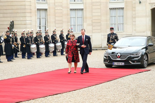 March 2018 photo shows Grand Duke Henri and Grand Duchess Maria Teresa during a State visit to France Cour grand-ducale/Bertrand Rindoff