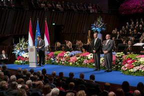 De gauche à droite: Xavier Bettel, Premier ministre, ministre d'État; S.A.R. le Grand-Duc; Fernand Etgen, président de la Chambre des députés. (© SIP / Emmanuel Claude, tous droits réservés)
