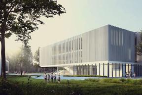 Vue latérale du futur campus scolaire. ((Illustration: Janusch - Holweck Bingen Architectes))