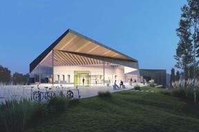 L'entrée du hall polyvalent est tout en angularité. ((Illustration: Janusch - Holweck Bingen Architectes))