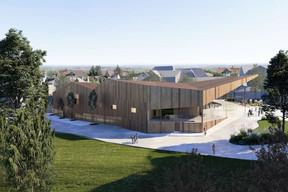 Le centre polyvalent présente un volume très différent du campus scolaire. ((Illustration: Janusch - Holweck Bingen Architectes))