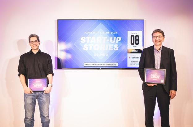Deux des lauréats du deuxième round des Start-up Stories: Farzam Molkara (EmoHack) et Casius Morea (EmailTree). (Photo: Simon Verjus/Maison Moderne)
