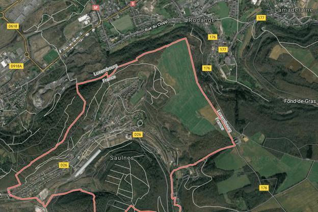 La zone menaçante, au nord-ouest de Saulnes, est à la limite du territoire luxembourgeois. (Photo: Google Maps)