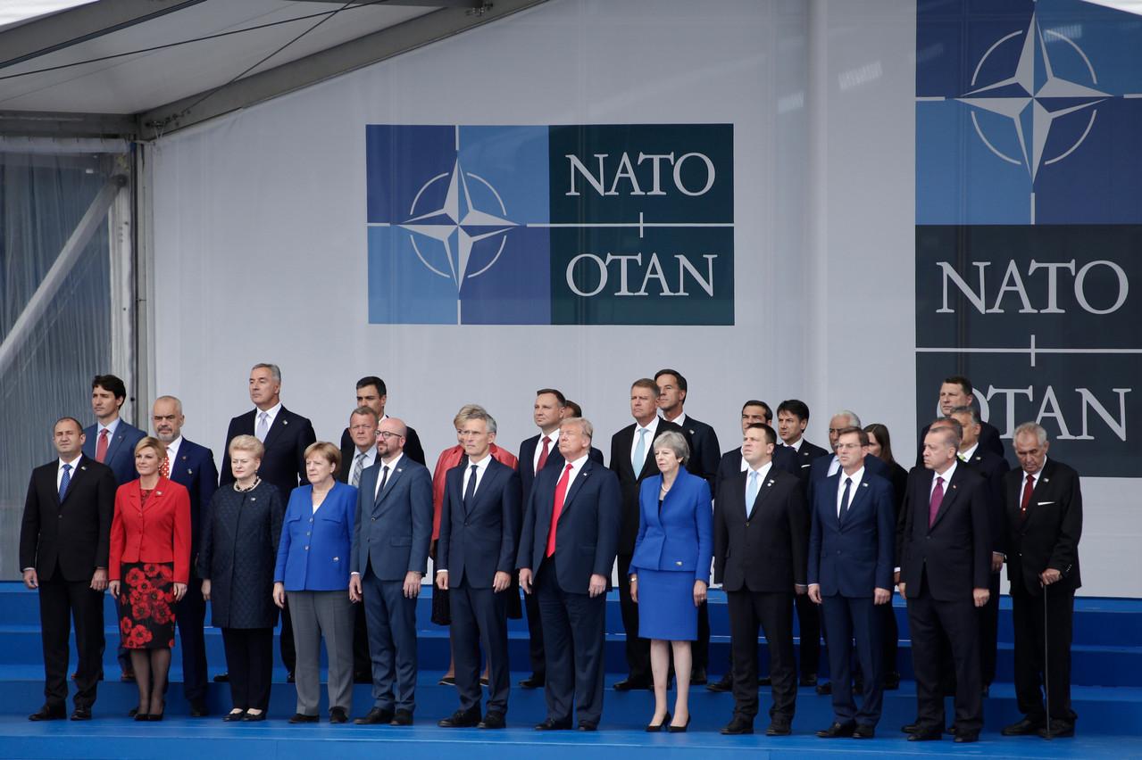 Les chefs d'État et de gouvernement des pays membres de l'Otan lors du sommet de 2018, devant le siège de l'organisation à Bruxelles. (Photo: Shutterstock)
