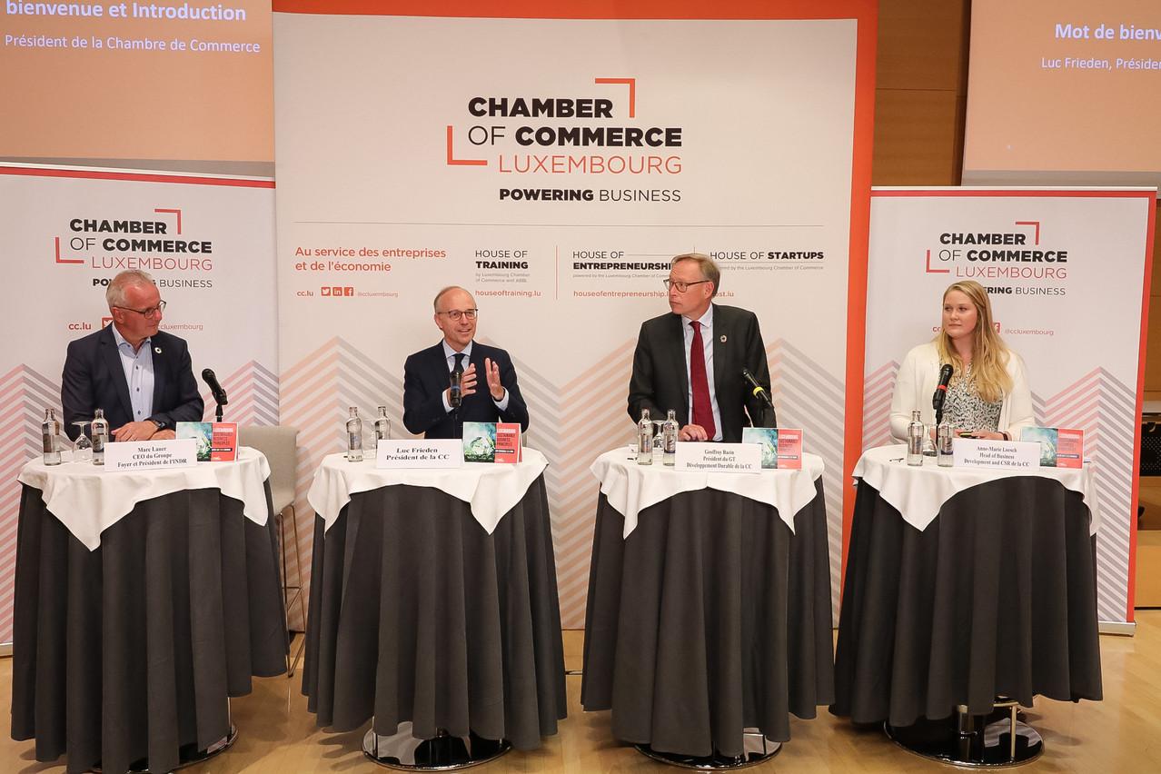 MarcLauer, LucFrieden, GeoffroyBazin etAnne-MarieLoesch ont présenté les 10 principes de durabilité de la Chambre de commerce. (Photo: Chambre de commerce)