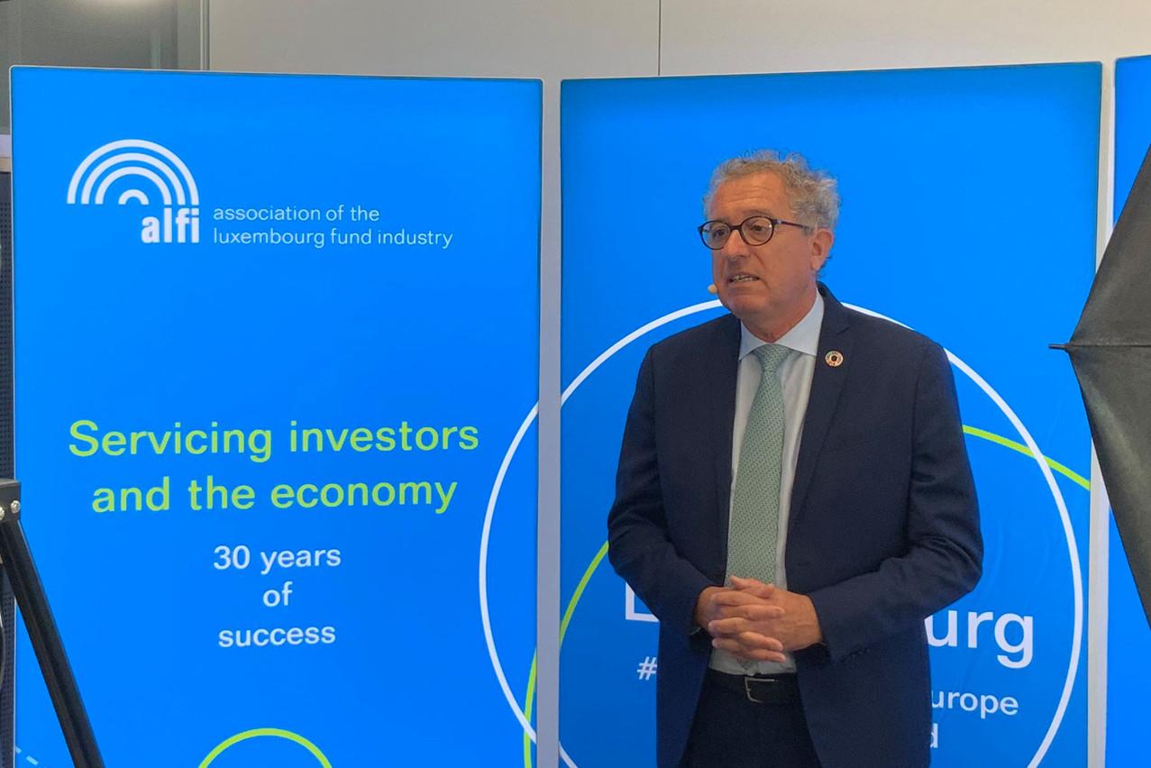 Pierre Gramegna a tapé sur ses deux clous favoris: la digitalisation et la finance durable. (Photo: Alfi/Twitter)