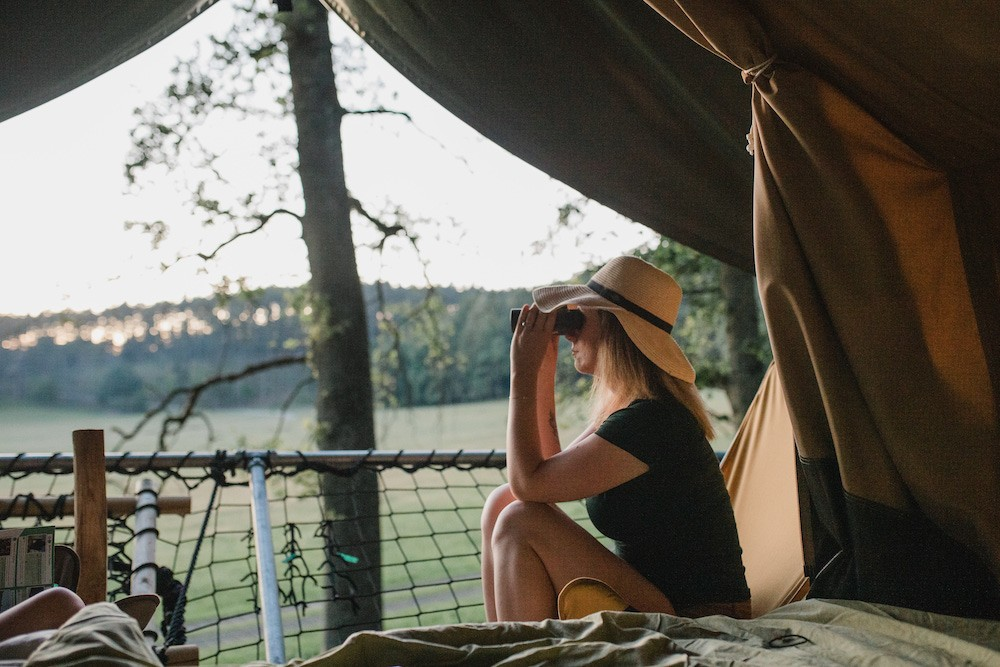 """In the """"Tree Tents"""", you have an unobstructed view of the animals that roam the great plain. Domaine des Grottes de Han"""