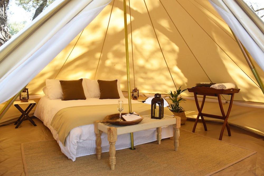 Inside the tents of the Cocoon Village.  Domaine des Grottes de Han