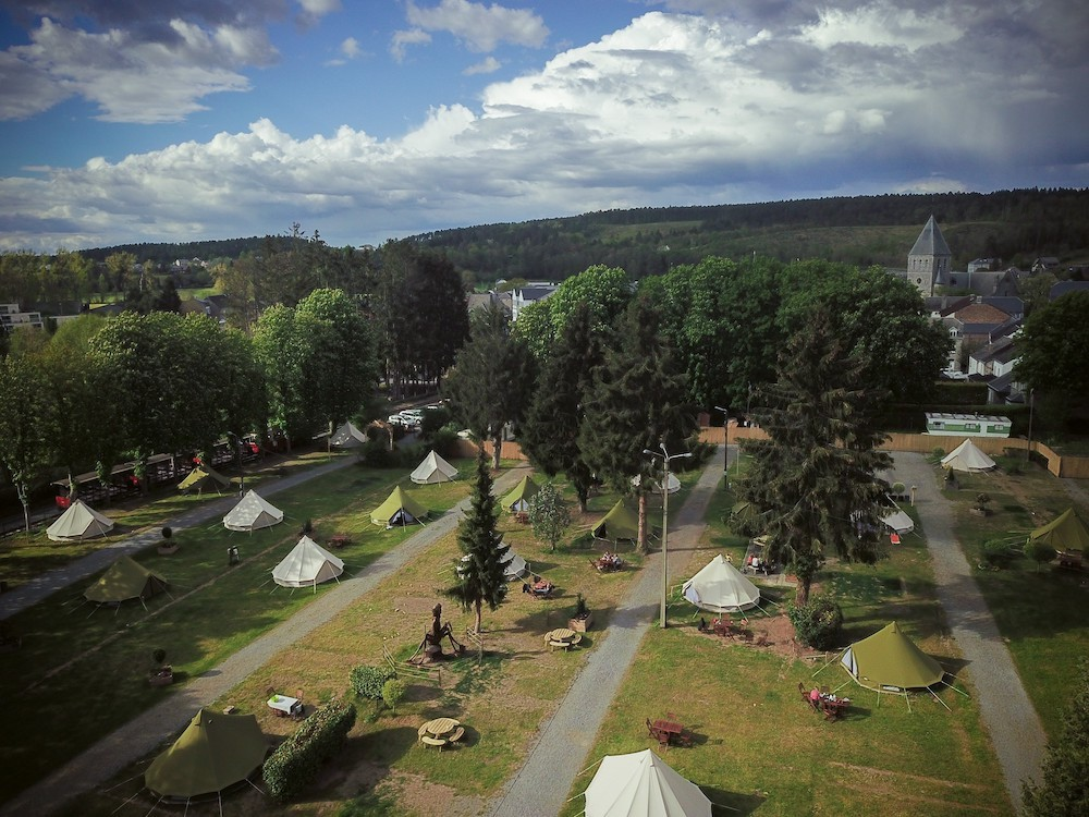 There are about 30 glamping tents. Domaine des Grottes de Han