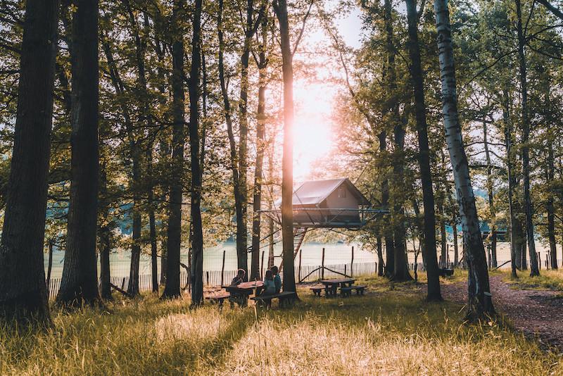 Les «Tree Tents», des tentes… perchées dans les arbres. (Photo: Le Domaine des Grottes de Han)