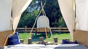 The bivouac in the wagons.  Domaine de Ronchinne
