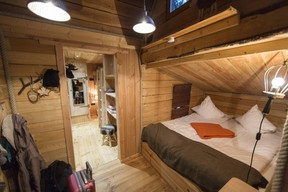 One of the rooms of the perched hut.  Domaine de Ronchinne