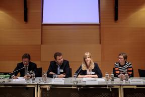 Gabriel Bleser, président de l'ALEDC;Marc Barennes, ex-fonctionnaire européen;Céline Marchand, avocat à la Cour, etMarianne Decker, avocat à la Cour.  ((Photo: Matic Zorman))