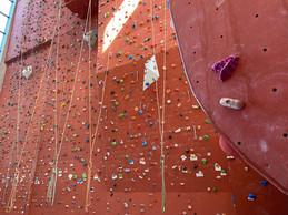 Le mur d'escalade, avec ses 14 mètres de prises et de voies, est très prisé. ((Photo: Paperjam))