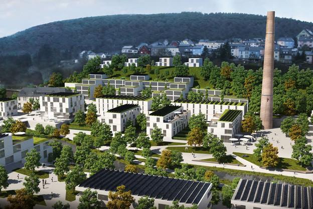 Voici une vue 3D de ce que sera l'éco-quartier dans le bas de la ville de Wiltz, grâce à l'économie circulaire. (Photo: Commune de Wiltz)