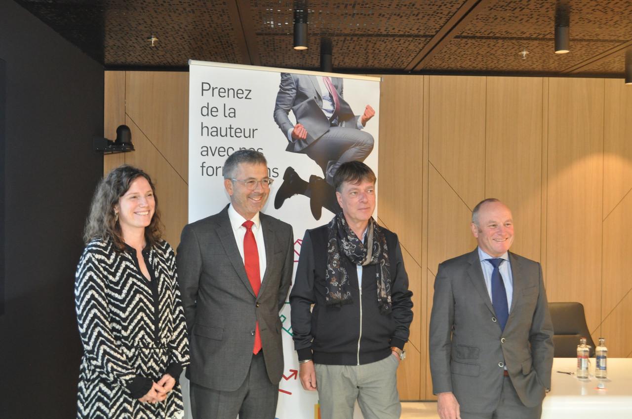 L'équipe dirigeante de la House of Training: Muriel Morbé (directrice), Luc Henzig (CEO), Serge de Cillia (vice-président), Fernand Ernster (co-président). (Photo: House of Training)
