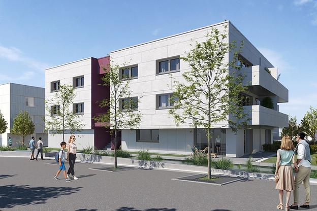 Vue des futures résidences construites par la SNHBM à Elmen. (Visuel: SNHBM)