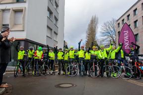 Les 17 cyclistes d'Inowai et Tracol Immobilier ont pris la route vers Cannes au profit du Télévie, à l'occasion du salon Mipim. ((Photo: Matic Zorman))